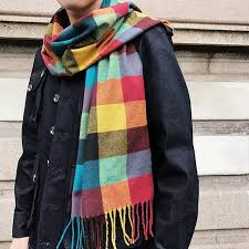 fringed like acrylic yarns plaid scarf colorful in s