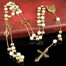 catholic jewelry store aliexpress buy gold white rosary necklace new fashion 6mm