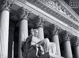 Supreme White Wooden Venetian Blind Supreme Court Exterior With Justice Statue B U0026w Fine Art Photo