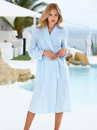 la robe de chambre charmor la robe de chambre col châle et ceinture à nouer bleu