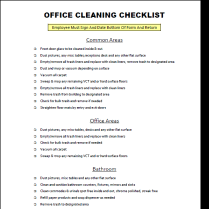 free download office cleaning checklist gives you a nice