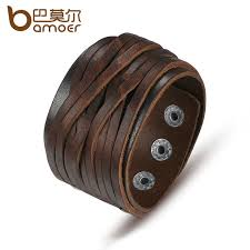 leather bracelet images Bamoer black brown genuine leather bracelet with alloy buckle jpg