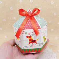 christmas boxes 50pcs merry go candy box cookie boxes with ribbon hexagon
