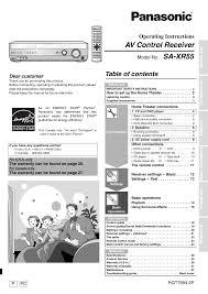 panasonic receivers home theater panasonic sa xr55 user manual 28 pages
