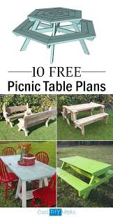 10 free picnic table plans picnic table plans backyard patio