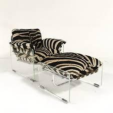 Zebra Chair And Ottoman Pace Collection Argenta Lucite And Chrome Lounge Chair And Ottoman