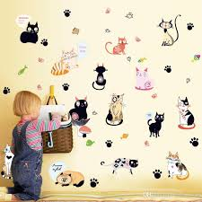 Heart Wall Stickers For Bedrooms 50 70cm Cute Cat Loving Heart Wall Stickers Diy Art Decal