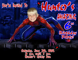 spiderman personalized photo birthday invitations 4 1 29