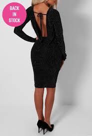 topaz black sparkly cowl back mini dress pink boutique