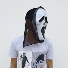 sceaming ghost mask with black gauze halloween party masks full