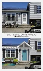 split level renovation remodel curb appeal front porch paint
