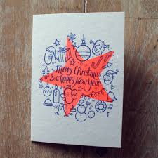 Christmas Cards Riso Print In Fluo Orange And Dark Blue On A6
