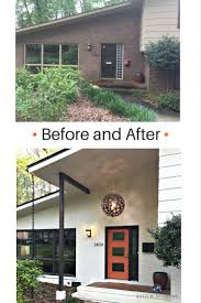 before and after mid century modern entryway with exterior painted