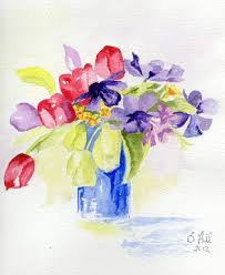 The Blue Vase Barbara Hill Westhoughton Art Group