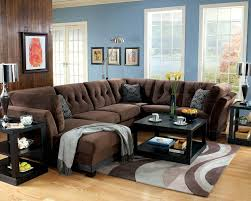 Small Brown Sectional Sofa Brown Microfiber Sofa Similar To Ours I Ike The Blue Pillow
