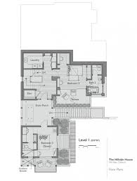 first floor plan for contemporary hillside house nestled on the