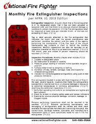 monthly fire extinguisher inspections