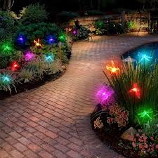 solar stake lights outdoor color changeable solar stake light hummingbird butterfly dragonfly