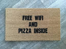 wifi and pizza welcome mat hand painted customizable doormat