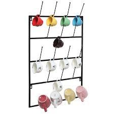 amazon com 5 tier black metal wall mounted kitchen mug hook