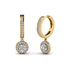 gold earrings design cut halo diamond hoop earring in 14k yellow gold