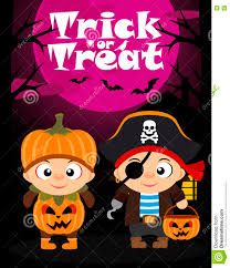 halloween vector background trick or treating with children stock