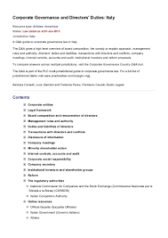 Resume For Food Service Job by Corporate Governance And Directors U0027 Duties Italy