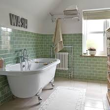 Country Style Bathroom Tiles Bathroom With Grey Pinstripe Tiles Decorating Bath And Basin