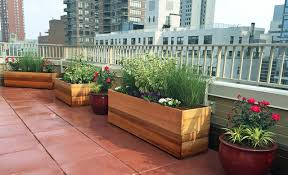 Deck Planters And Benches - upper west side rooftop terrace with custom planter boxes and