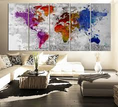 World Map Canvas Splatter World Map Canvas Print Watercolor Large 5 Panel