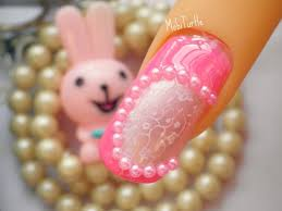rose pearl pink design acrylic nail art tutorial using konad image