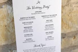 order of wedding program wedding order of service single sided flat program thick style