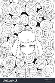 artistically ornamental sheep a4 size swirls stock vector