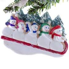 sledding family of 5 ornament personalized ornament