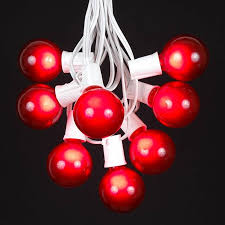 red and white bulb christmas lights red g50 globe round outdoor string light set on white wire novelty