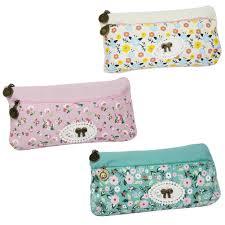 samaz cute girls floral lace bowknot pencil case pen pouch makeup