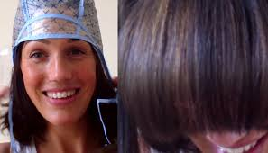hair frosting for dark hair diy highlights with a cap at home vintagious vlogs youtube