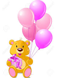 teddy in a balloon gift teddy sitting with gift box and pink balloons royalty free
