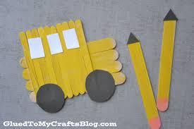 popsicle stick pencils u0026 bus kid craft