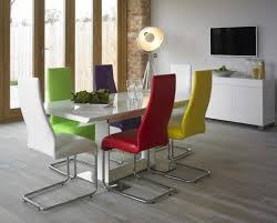 White Dining Table And Coloured Chairs Colorful Modern Dining Table Dining Table Design Ideas