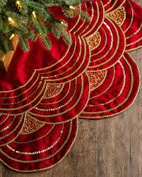 beaded scalloped christmas tree skirt balsam hill