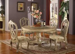 Jessica Mcclintock Dining Room Set 5 Pc Charissa Ii Collection Antique White Wood Round Pedestal