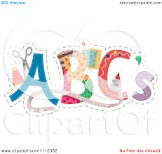 clipart abc letters with sewing supplies royalty free vector