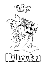 happy piglet coloring page for kids printable free halloween