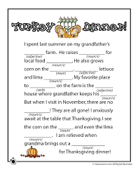 thanksgiving mad libs thanksgiving mad lib turkey dinner