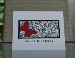 handmade greeting card black and white birthday card