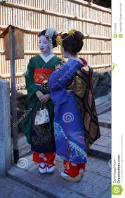 women tourism wear a traditional dress called kimono editorial