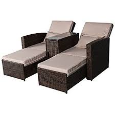 Chaise Lounge Sofa Amazon Com Outsunny 3 Piece Outdoor Rattan Wicker Chaise Lounge