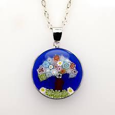 jewelry blue tree of pendant murano glass