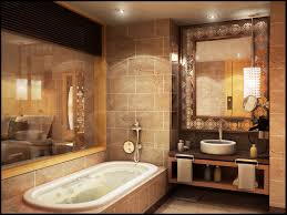 warm bathroom nuance using beige accents tiles wall and paired